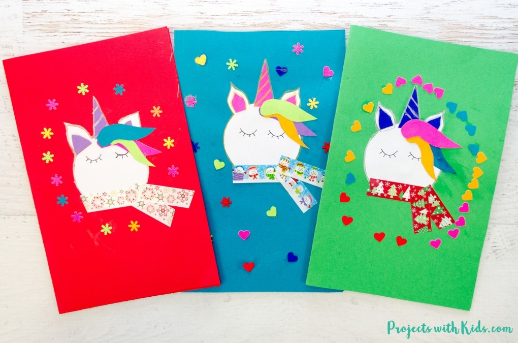 Adorable Unicorn Christmas Cards Kids Can Make Projects With Kids