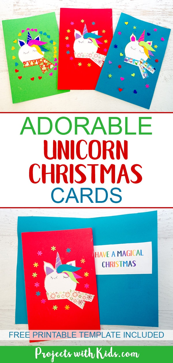 Spread some holiday magic this season with these adorable and colorful unicorn Christmas cards! Kids will love making and giving them to their friends and family this Christmas. Free printable template included. #christmascrafts #unicorncrafts #projectswithkids