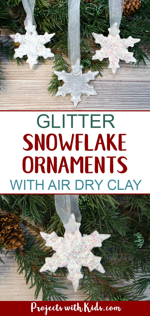 Add some sparkle and shine to your Christmas tree with these glitter snowflake ornaments. An easy DIY Christmas ornament for kids of all ages to make. #christmascrafts #diyornaments #kidschristmas #projectswithkids