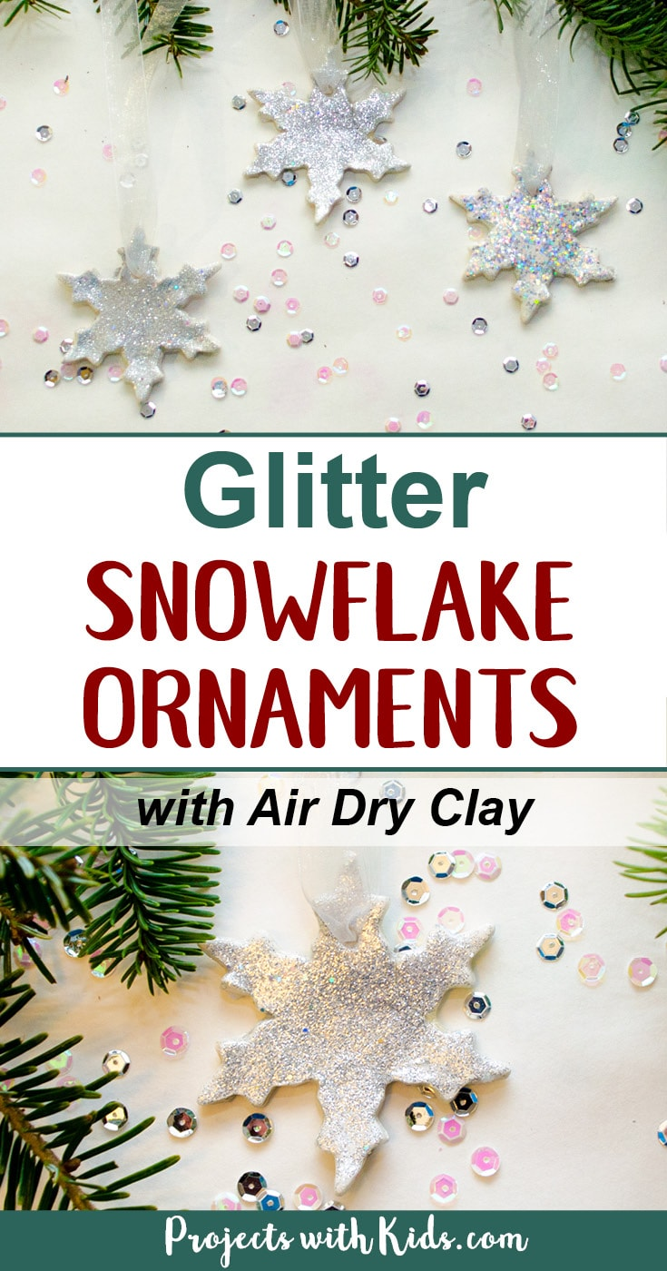 Add some sparkle and shine to your Christmas tree with these glitter snowflake ornaments. Super simple for kids of all ages to make. A beautiful addition to any Christmas tree and a great handmade gift for someone special. #diychristmasornaments #christmascrafts #airdryclay