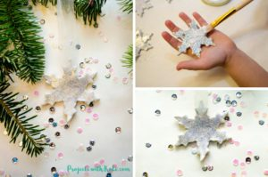 Glitter Snowflake Ornaments with Air Dry Clay