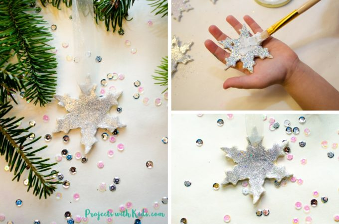 Add some sparkle and shine to your Christmas tree with these glitter snowflake ornaments. Super simple for kids of all ages to make. A beautiful addition to any Christmas tree and a great handmade gift for someone special.