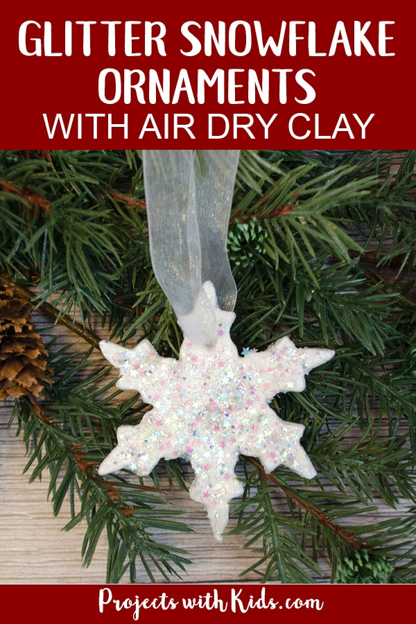 Add some sparkle and shine to your Christmas tree with these glitter snowflake ornaments. An easy DIY Christmas ornament kids of all ages will enjoy making. #christmascrafts #handmadeornaments #kidschristmas #projectswithkids