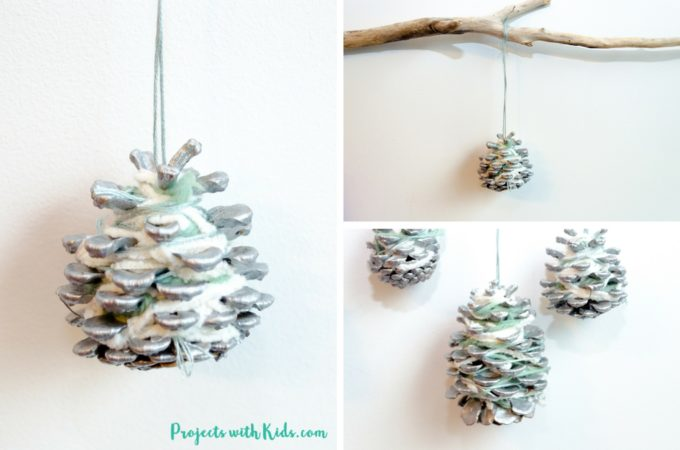 These pinecone ornaments are so simple and beautiful! A perfect Christmas craft for kids of all ages. An elegant addition to any Christmas tree and a great handmade gift for someone special.