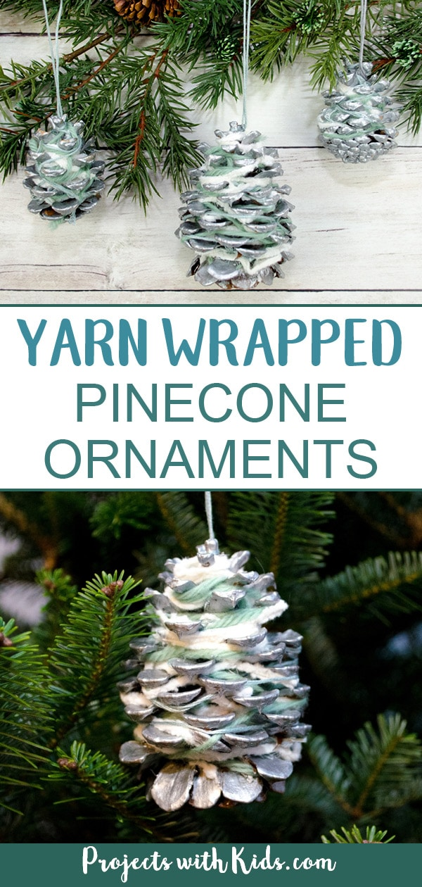 These pinecone ornaments are so simple and beautiful! They make a great fine motor activity and an easy Christmas craft kids of all ages will enjoy creating. #christmascrafts #diyornaments #pineconecrafts #projectswithkids