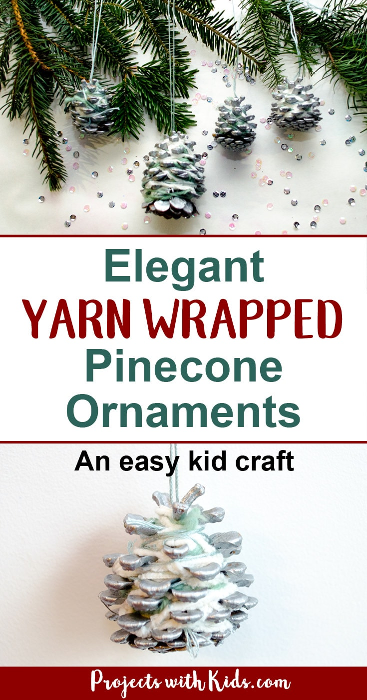 These pinecone ornaments are so simple and beautiful! A perfect Christmas craft for kids of all ages. An elegant addition to any Christmas tree and a great handmade gift for someone special. #diychristmasornaments #christmascrafts #pinecones