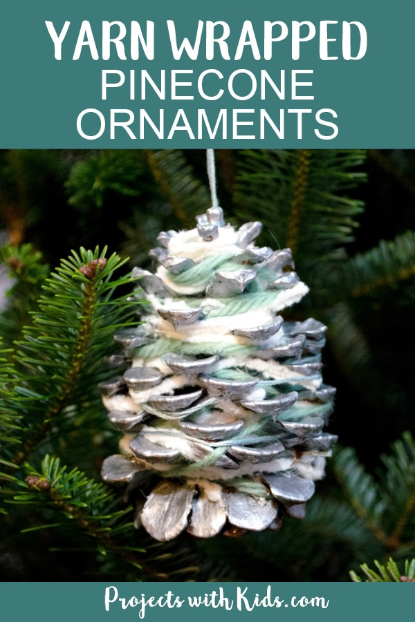 These pinecone ornaments are so simple and beautiful! They make a great fine motor activity and an easy Christmas craft kids of all ages will enjoy creating. #handmadeornaments #christmascrafts #pineconecrafts #projectswithkids