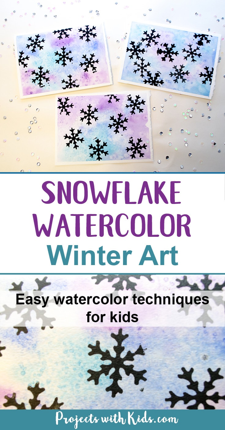 Create stunning snowflake watercolor winter art with simple watercolor techniques that kids of all ages can do and get amazing results! Kids will love exploring watercolors and different techniques to create this winter painting. A beautiful piece of winter decor that would also make a great handmade gift. #winterart #watercolors #snowflakeart #kidsart