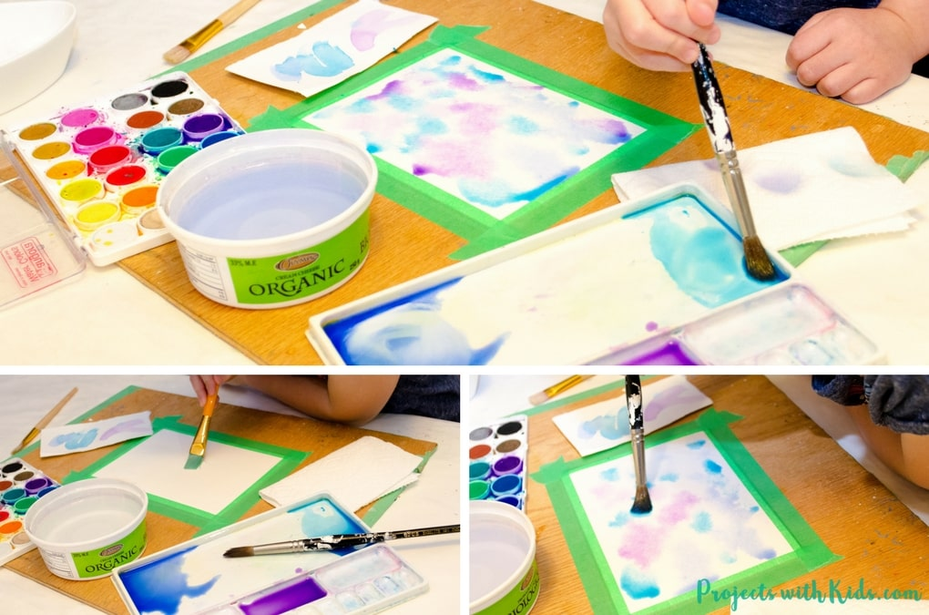 Create stunning snowflake watercolor winter art with simple watercolor techniques that kids of all ages can do and get amazing results! Kids will love exploring watercolors and different techniques to create this winter painting. A beautiful piece of winter decor that would also make a great handmade gift.