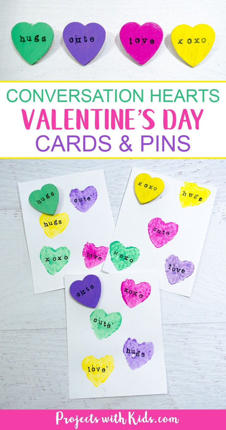 These conversation hearts cards and pins are so fun for kids to make! The perfect Valentine's Day craft and art project, kids will love making cards and cute jewelry for their friends. #valentinecrafts #heartcrafts #conversationhearts #projectswithkids