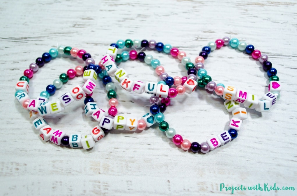 Kids will love making these colorful beaded friendship bracelets for their friends. These beaded bracelets are super easy to make and kids will have fun coming up with positive messages to share with their friends.