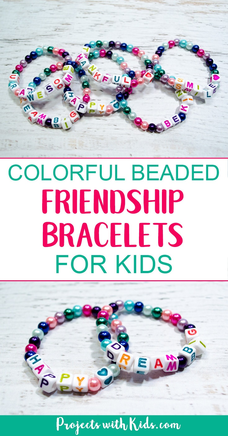Kids will love making these colorful beaded friendship bracelets for their friends. These beaded bracelets
