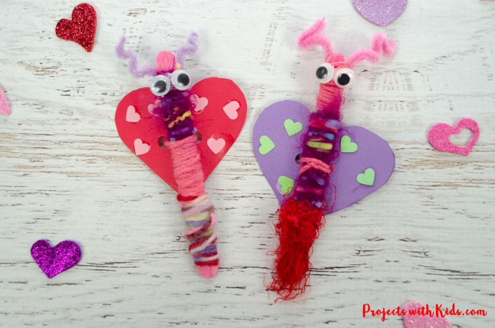 Popsicle stick love bugs make the cutest Valentine's Day craft for kids! This is a simple easy prep activity that also makes a great fine motor craft for preschoolers. Kids will love making and playing with their adorable love bug creations!