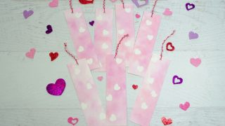 Sticker Resist Watercolor Valentine Bookmarks