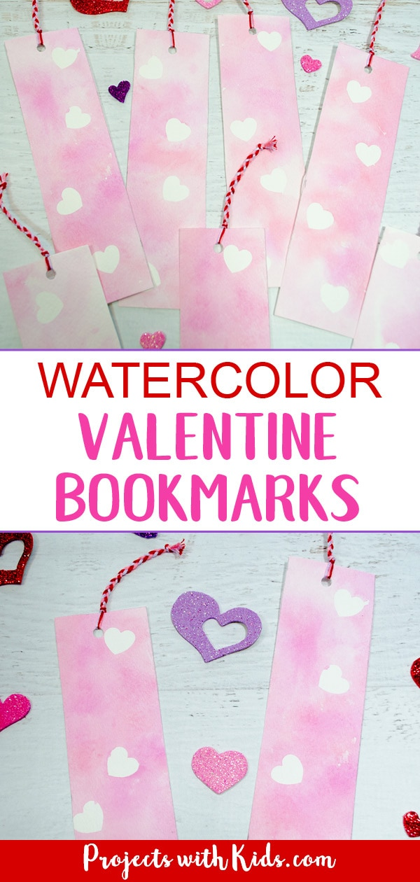 Kids can try out this unique watercolor technique and make beautiful and colorful Valentine bookmarks for their friends. A great non-candy Valentine's Day art project! #valentinesdaycrafts #diybookmarks #noncandyvalentines #projectswithkids