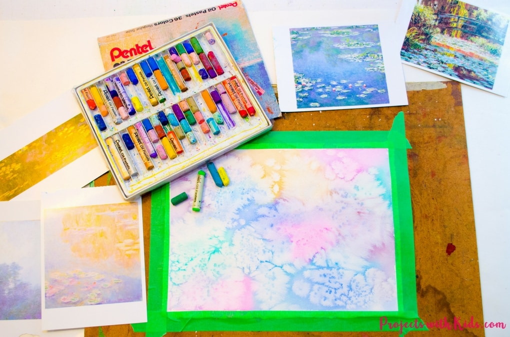 Explore easy watercolor techniques and oil pastels in this Monet water lilies art project for kids. Create beautiful and colorful paintings inspired by the famous artist Claude Monet. Kids will have fun creating their own masterpiece!