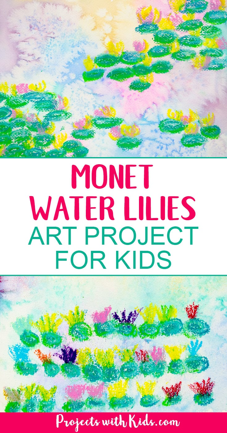 Explore easy watercolor techniques and oil pastels in this Monet water lilies art project for kids. Create beautiful and colorful paintings inspired by the famous artist Claude Monet. Kids will have fun creating their own masterpiece! #watercolorpainting #oilpastels #monetwaterlilies #projectswithkids