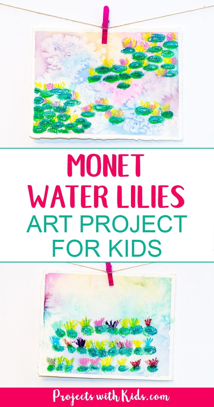 Explore easy watercolor techniques and oil pastels in this Monet water lilies art project for kids. Create beautiful and colorful paintings inspired by the famous artist Claude Monet. Kids will have fun creating their own masterpiece! #watercolorpainting #watercolorsforkids #oilpastels #monetwaterlilies