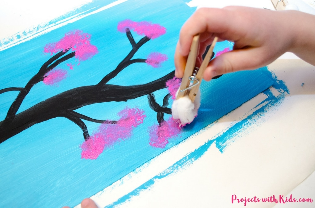 This cherry blossom art is the perfect spring art project for kids.