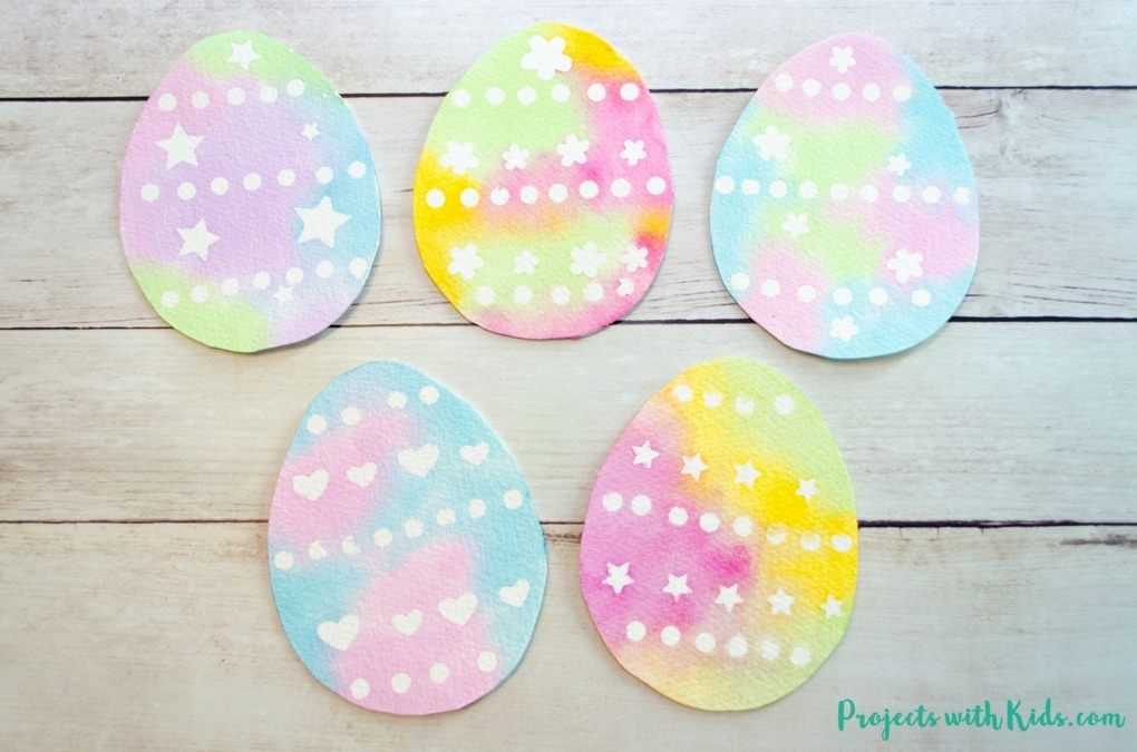 Create Simple Watercolor Easter Egg Art With Stickers Projects
