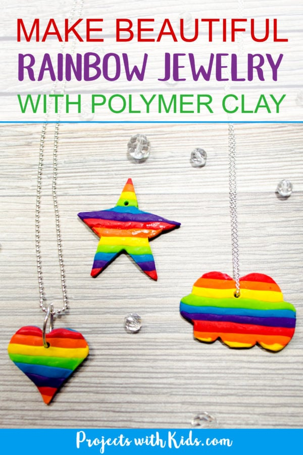 Learn how to easily make beautiful rainbow jewelry for kids using polymer clay. Kids will have fun making these unique charms in all sorts of fun shapes. A great handmade gift for kids to give to their friends! #projectswithkids #diyjewelry #rainbow #polymerclay #kidscraft