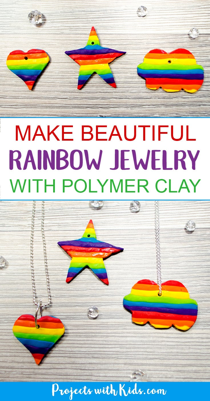 Learn how to easily make beautiful rainbow jewelry for kids using polymer clay. Kids will have fun making these unique charms in all sorts of fun shapes. A great handmade gift for kids to give to their friends! #diyjewelry #rainbow #polymerclay #projectswithkids