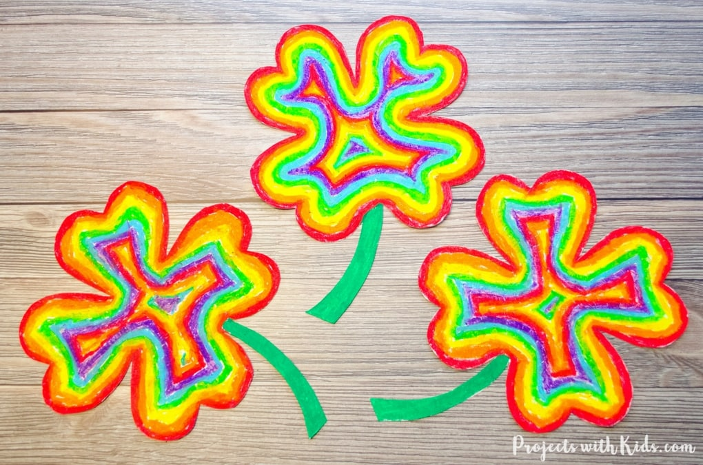Brighten Up Your Day With This Easy Rainbow Shamrock Craft Using Oil Pastels So Fun