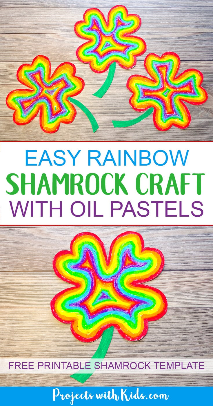 Brighten up your day with this easy rainbow shamrock craft using oil pastels. So fun and colorful, kids will love using vibrant oil pastels to create a rainbow in the shape of a shamrock. A great St. Patricks day craft project. Free printable template included! #stpatricksday #shamrock #rainbow #kidscraft #projectswithkids