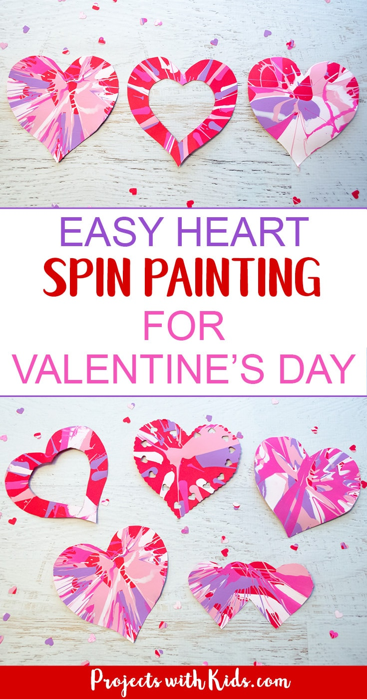 Easy Heart Spin Painting For Valentines Day Projects With Kids