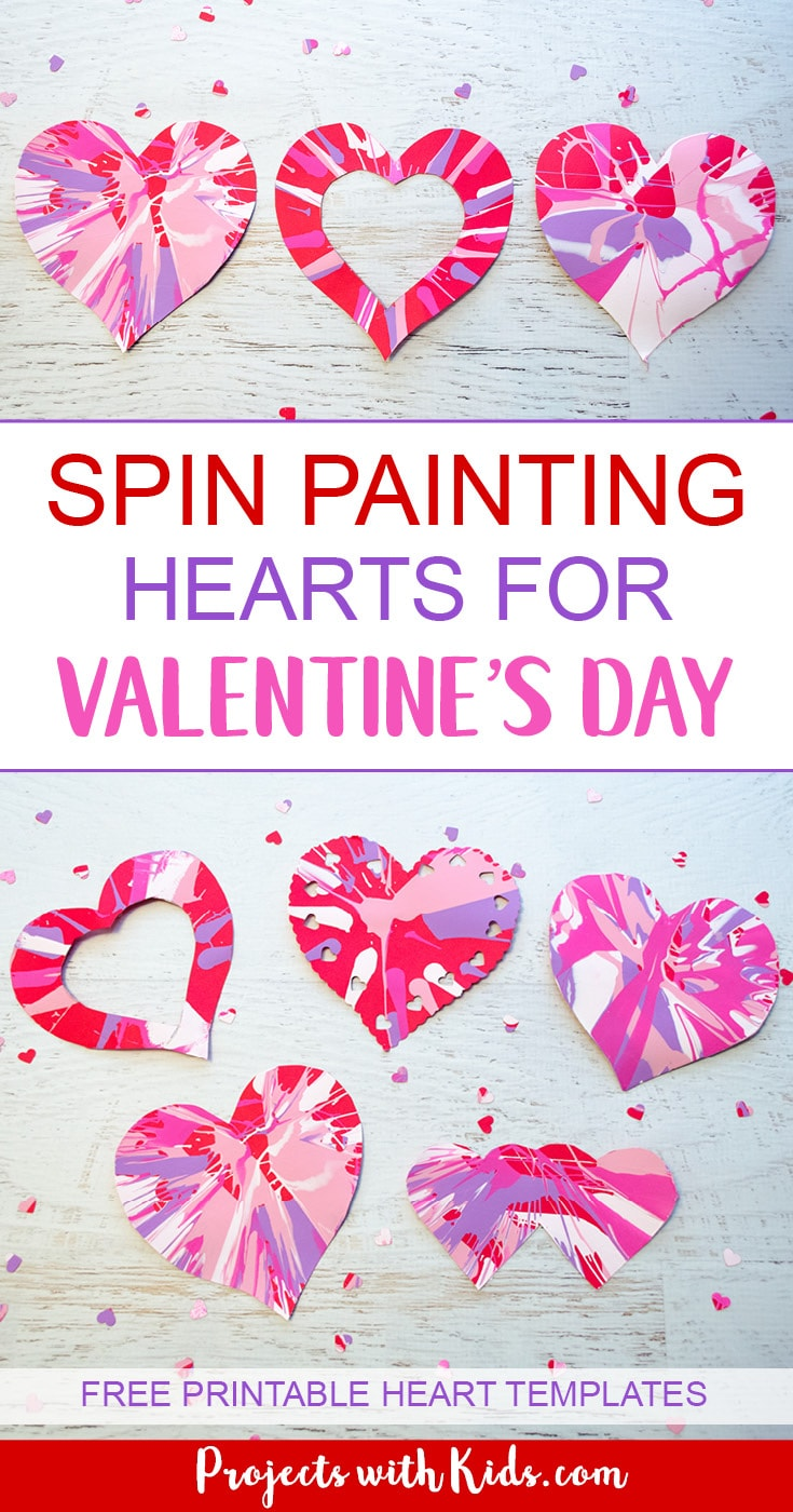 Spin painting hearts make the perfect Valentine's Day art project for kids. Kids will have a blast spinning their hearts and making cool patterns. An easy project for preschool kids to make on their own and an awesome process art project for kids of all ages! #valentinecrafts #heartcrafts #kidscrafts #projectswithkids