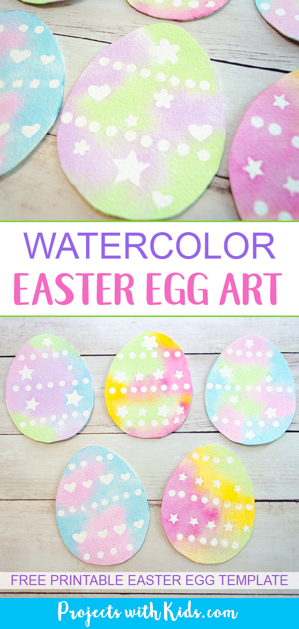 Use a simple watercolor resist method to create this gorgeous watercolor easter egg art with kids. Easy watercolor techniques that produce amazing results. So simple and fun for kids of all ages! Free printable easter egg template included. #eastercrafts #watercolorpainting #kidsart #projectswithkids
