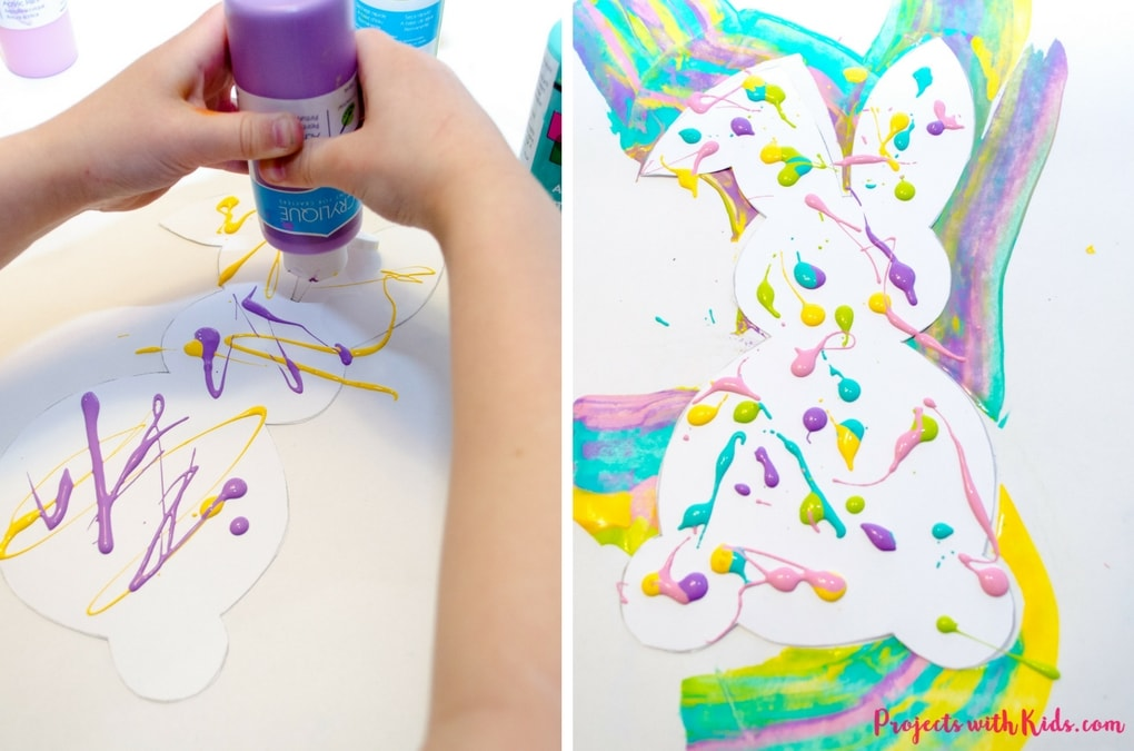 Scrape painting is a super fun process art activity that kids will love! Use beautiful spring colors to make these bunny silhouettes that are the perfect art project for spring or Easter. Edge them in gold glitter for an extra special touch! A great project for preschool aged kids and beyond. Free printable bunny template included.