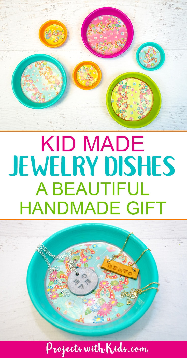 These kid made jewelry dishes make the perfect Mother's Day craft or handmade gift for any occasion. Bright and colorful and super easy to make, kids will love making their mom's this special gift. #mothersday #kidscraft #diygifts #projectswithkids