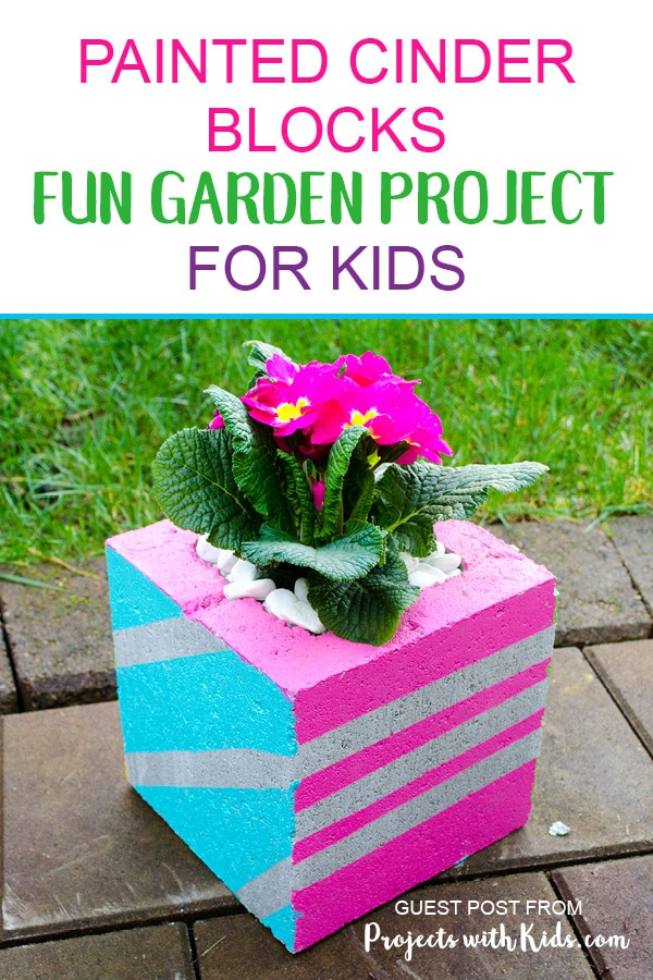Painted cinder blocks fun garden project for kids for Painting cinder blocks for garden
