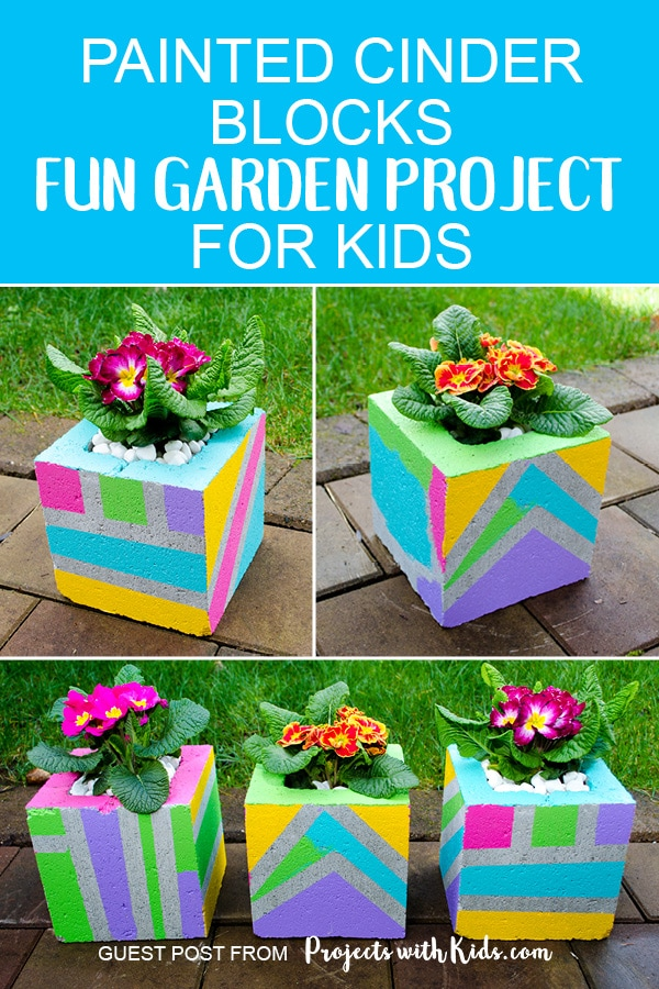 Add some wow factor to your patio or balcony with these fun & colorful painted cinder blocks. These DIY planters make such a fun garden project for kids and a great family outdoor activity for spring or summer. #kidsactivities #gardening #springcrafts