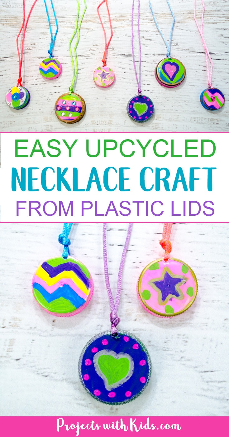 This upcycled necklace craft for kids could not be any easier to make! So fun and colorful, kids will want to make them for all their friends. They also make a great Earth Day project or Mothers Day craft. Kids can create their own unique designs for one of a kind jewelry that makes a wonderful handmade gift. #diyjewelry #upcycledcrafts #kidscraft #projectswithkids