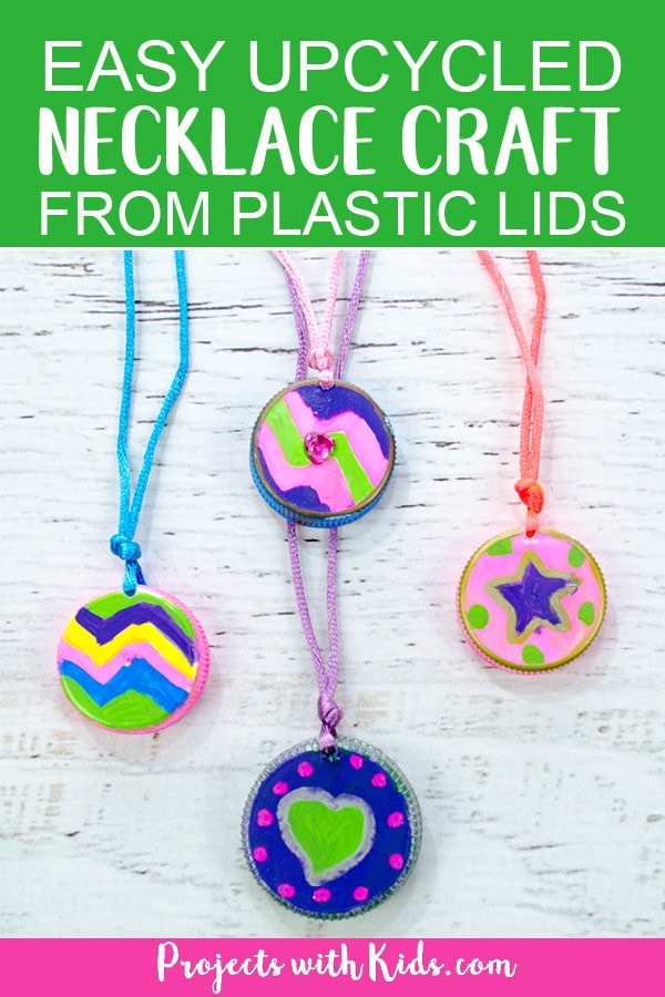 This upcycled necklace craft for kids could not be any easier to make! So fun and colorful, kids will want to make them for all their friends. They also make a perfect Earth Day activity or Mothers Day craft. Kids can create their own unique designs for one of a kind jewelry that makes a wonderful handmade gift. #diyjewelry #upcycledcrafts #kidscraft #projectswithkids