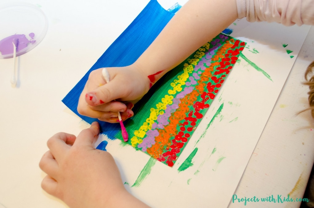 Field Of Tulips Q Tip Painting Projects With Kids