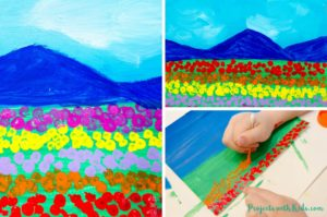 This field of tulips q-tip painting is such a fun art project for kids to create! Painting with q-tips is a wonderful technique for kids to explore and makes the perfect tool for creating beautiful fields of tulips. So bright and colorful, this painting is a great spring project that will brighten up any space.