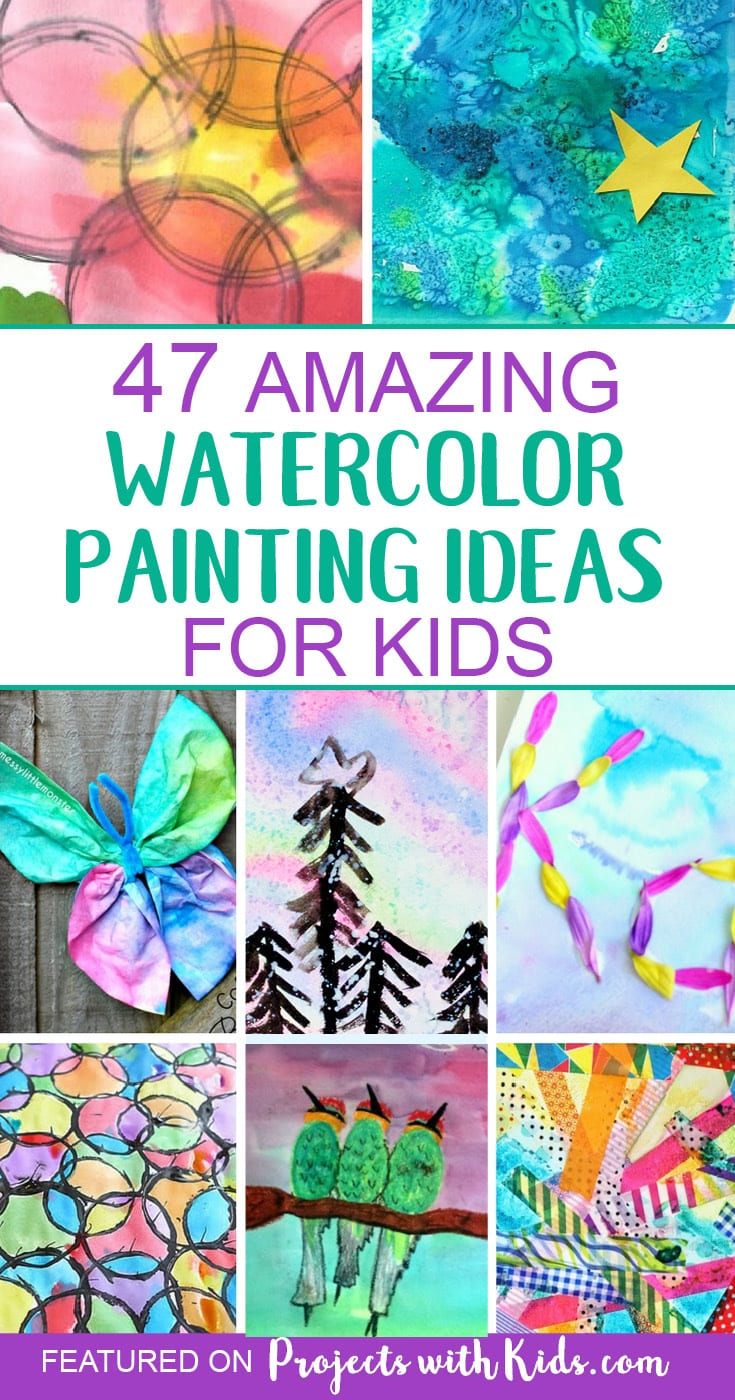 These watercolor painting ideas will inspire you and your kids to create and have fun! There are so many creative ideas for kids of all ages, you are sure to find one (or more!) that your kids will want to try. Click through to find ideas for kids of all ages, process art ideas, easy watercolor projects for preschoolers and beautiful holiday and seasonal watercolor projects. #watercolorpainting #artprojectsforkids #projectswithkids #kidsart