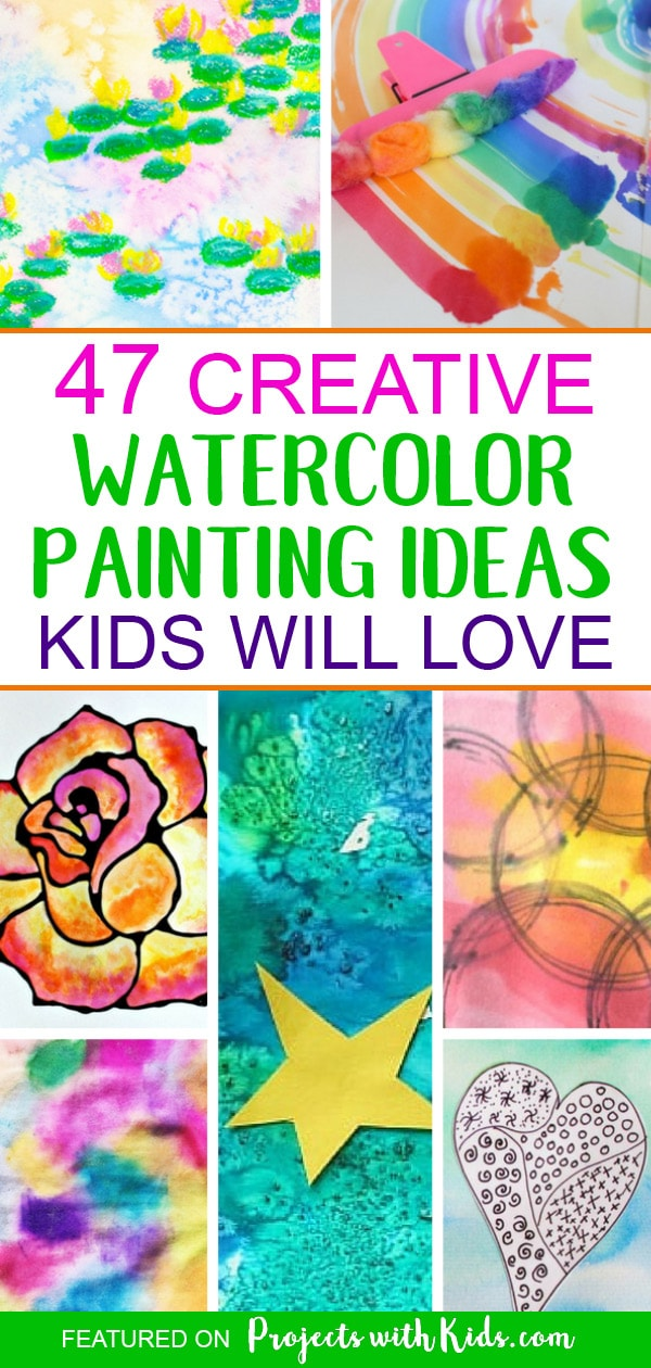 These watercolor painting ideas will inspire you and your kids to create and have fun! There are so many creative ideas for kids of all ages, you are sure to find one (or more!) that your kids will want to try. Click through to find ideas for kids of all ages, process art ideas, easy watercolor projects for preschoolers and beautiful holiday and seasonal watercolor projects. #watercolorpainting #artprojectsforkids #paintingideas #projectswithkids