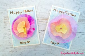 This 3D flower Mother's Day card craft is such a beautiful project for kids to make for their moms or grandmas for Mother's Day! Coffee filters and watercolor paint make a gorgeous 3D flower while the background is made with a unique and easy watercolor technique that kids will have fun creating. Kids will love creating this gorgeous card for someone special.