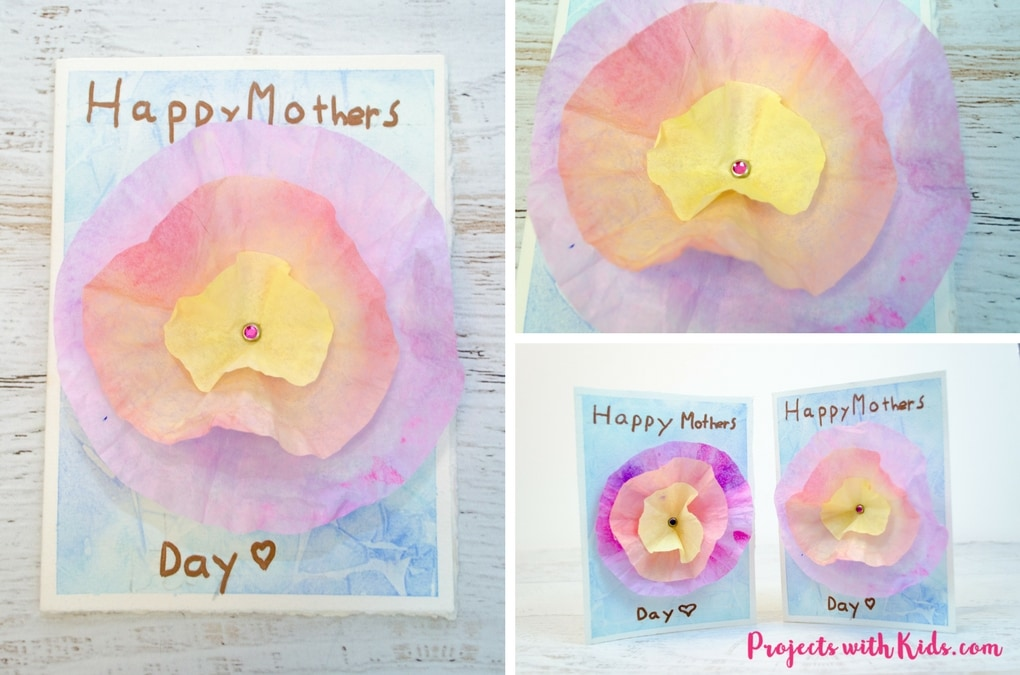 This 3D flower Mother's Day card craft is such a beautiful project for kids to make for their moms or grandmas for Mother's Day! Coffee filters and watercolor paint make a gorgeous 3D flower while the background is made with a unique and easy watercolor technique that kids will have fun creating. Kids will love making this gorgeous card for someone special.