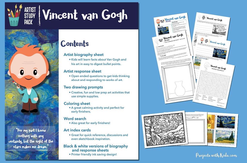 Vincent van Gogh printable study pack for kids.