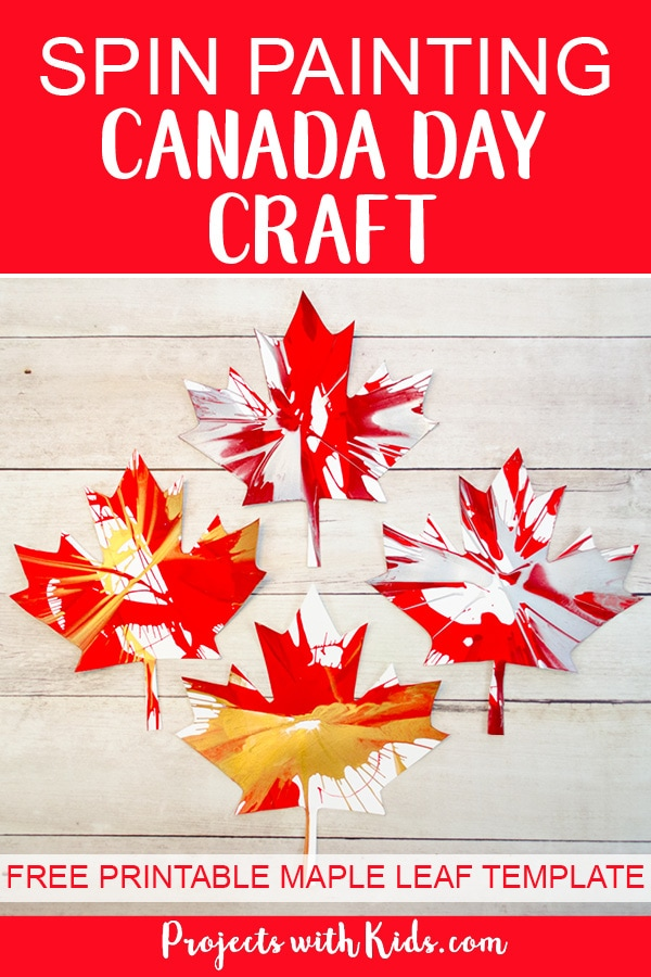 Kids of all ages will have tons of fun spin painting and making cool patterns with this Canada Day craft. An easy project for preschool kids to make on their own and an awesome process art project for kids of all ages! Click through to get your free maple leaf template. #artprojectsforkids #canadaday #spinpainting #preschool #projectswithkids