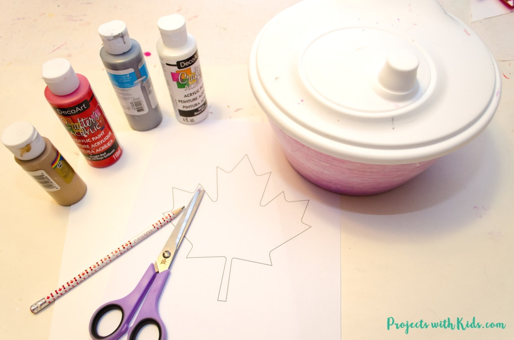 Kids of all ages will have tons of fun spin painting and making cool patterns with this Canada Day craft. An easy project for preschool kids to make on their own and an awesome process art project for kids of all ages! Click through to get your free maple leaf template.