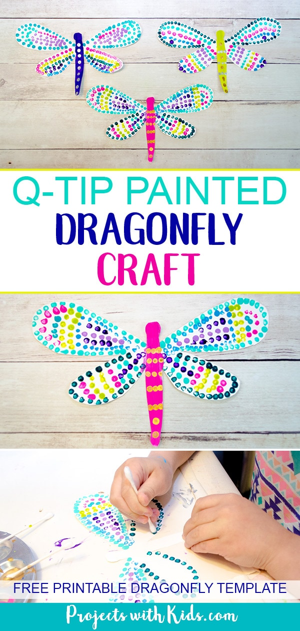 This q-tip painted dragonfly craft is a fun and easy summer activity for kids of all ages. Kids will have fun designing their dragonfly wings, each one will be unique and beautiful. This is a wonderful and relaxing painting project that is also great for working on fine motor skills. Free printable dragonfly template included! #artprojectsforkids #summercraft #kidscraft #dragonflycraft #projectswithkids