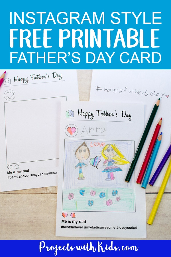 This free printable father's day card activity is so fun! Using an Instagram style template, kids can draw a picture of them with their dad and write their own hashtag message on the inside. Kids of all ages will love making and giving this card to their dads for Father's Day. #fathersdaycrafts #kidscraft #freeprintable #projectswithkids