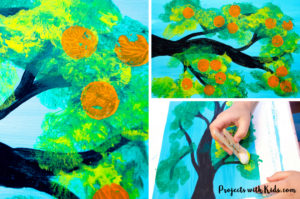 Kids will love creating this orange tree cotton ball painting with gorgeous shades of green and then stamp on oranges using another fun painting tool! Using cotton balls to create the leaves of this fruit tree creates a fluffy texture that is perfect for this summer tree project. Free printable template included!