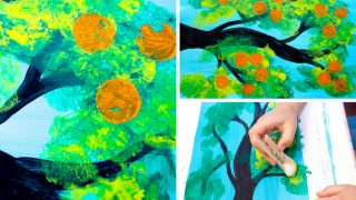 Orange Tree Cotton Ball Painting